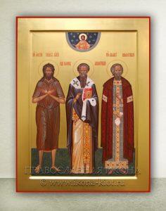 Икона «Иоанн Милостивый, Филарет Милостивый и Алексий человек Божий»
