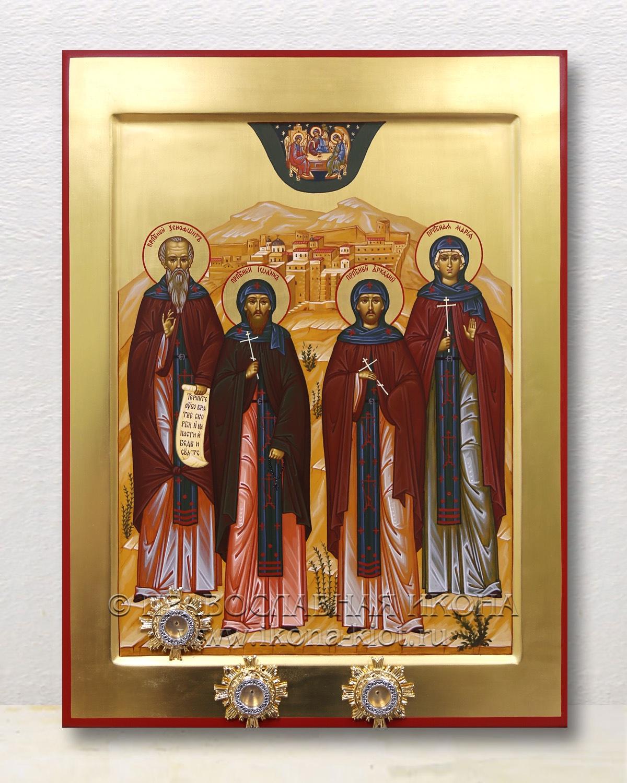Икона «Собор преподобных (Иоанн, Аркадий, Мария, Ксенофонт» (образец №1)