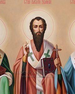 Икона «Василий Великий, Григорий Богослов и Иоанн Златоуст» (образец №3)